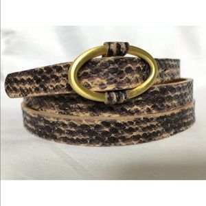TALBOTS Snake Print Genuine Leather Skinny Belt